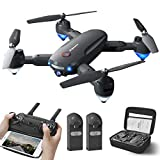 Drone with 1080P Camera for Adults Beginner, WiFi FPV Foldable Drone Quadcopter 30mins Flight Time,120°Wide-Angle with Carrying Bag, 2 Batteries,Altitude Hold, One Key Take Off/Landing
