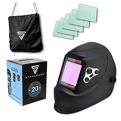 STAHLWERK ST-900X Vollautomatik Schweißhelm Schweißermaske mit großem Sichtfeld inklusive 5 Ersatzscheiben und Aufbewahrungstasche, 7 Jahre Garantie auf Filter