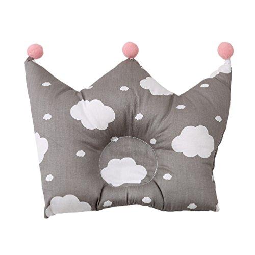 Albeey Babykissen Krone Form Weiche Baumwoll Neugeborenen Kopfkissen (Wolke)