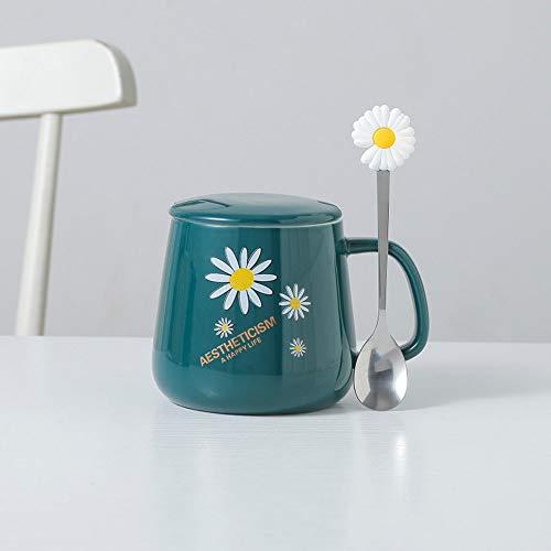 CXL Taza de cerámica Daisy, Taza para Beber Pareja con Cuchara, Regalo de Boda Creativo con Recuerdo