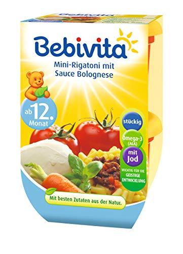Bebivita Mini-Rigatoni mit Sauce Bolognese, 4er Pack ( 4 x 2 x 250 g )