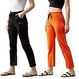 BLINKIN Women's Cotton Solid Pajama (Pack of 2) (COMBO-86-BLK-ORANGE-32_Black & Orange_32)