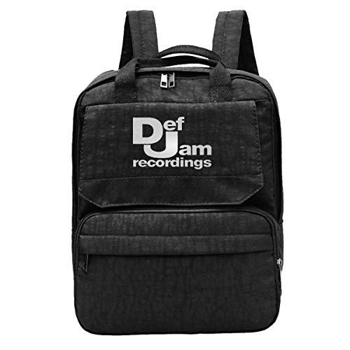 Rucksack Def Jam Recordings - Hip Hop Klassisches Musik-Plattenlabel Run Dmc New York Herren Rucksack Casual Durable Travel Wandern Notebook Tasche Buch Gym Frauen College Gemütli