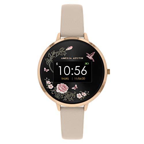 Amelia Austin Smart Watch da Donna in Oro Rosa, Cinturino in Pelle Rosa e Quadrante Rotondo con Motivo Floreale e Farfalle Rosa, Activity Tracker, Compatibile con Android e iPhone - Rose Blush