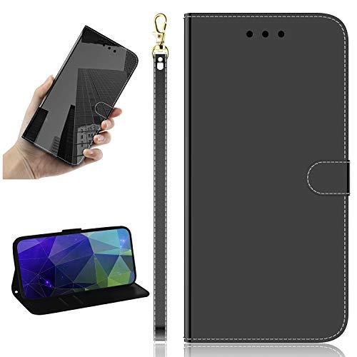 Miagon Spiegel Effekt Brieftasche Hülle für Samsung Galaxy S20 Plus,Schlank PU Leder Flip Make-Up Schutzhülle Standing Wallet Case Cover,Schwarz
