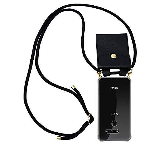 Cadorabo Handy Kette für LG G8 ThinQ in SCHWARZ – Silikon Necklace Umhänge Hülle mit Gold Ringen, Kordel Band Schnur & abnehmbarem Etui – Schutzhülle