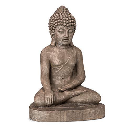 blumfeldt Gautama - Statue Jardin Bouddha, Extérieur-Intérieur, Fibrociment, Robuste, Protection UV et Gel, Résistante aux intempéries, Antichoc, Atmosphère spirituelle, Stable - Aspect Pierre