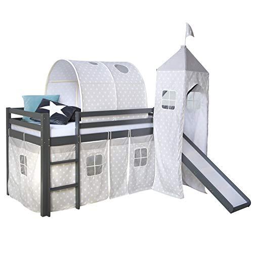Homestyle4u 1874, Kinderbett 90x200 Grau, Hochbett mit Rutsche Tunnel Turm, Sternen Vorhang