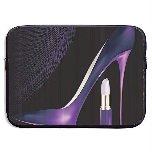 15inch Lila Damen high Heels Schuhe und Lippenstift wasserabweisend Laptop hülle Tasche Abdeckung