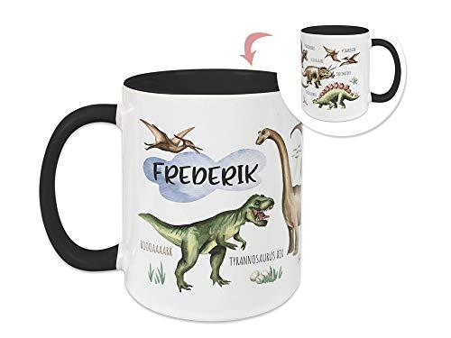 GRAZDesign Tasse Kinder mit Namen personalisiert für Jungen Motiv Dinos Welt/Becher Schwarz Innen + Henkel