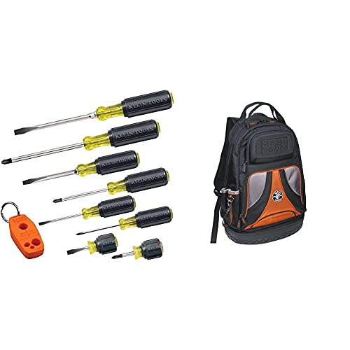 Klein Tools 85148 Screwdriver Set 8pcs Includes Magnetizer/Demagnetizer & 55421BP-14 Tool Bag Backpack, Heavy Duty Tradesman Pro Tool Organizer/Tool Carrier with 39 Pockets and Molded Base
