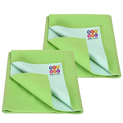 BeyBee- Mattress Protector for Baby Bed Protection Medium Size Combo Pack of 2 Light Green (Each Size : 70 cm x 100 cm)