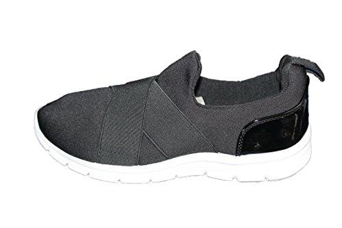 MODA rnon-Baskets légère et Confortable au Look branché-Noire-Femme ou Ados (38)