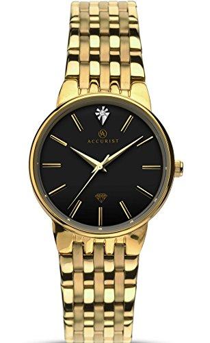 Nauwkeurige Dames Gouden Jurk Horloge Met Diamant Set Wijzerplaat 8119
