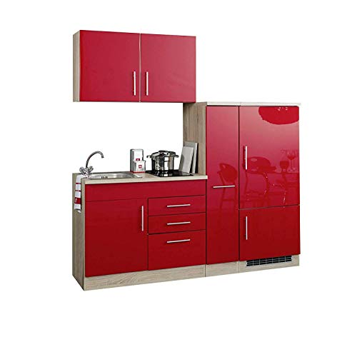 lifestyle4living Singleküche mit Glaskeramikkochfeld und Kühlschrank | Miniküche 190 cm in Hochglanz Rot mit Arbeitsplatte, Spülbecken und Kochfeld