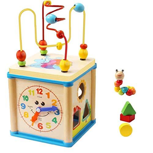 shentaotao Bebé Juguetes Educativos De Madera Forma del Cordón Laberinto Clasificador Actividad Reloj En Forma De Regalos del Juguete del Cubo De 1 a 4 Años 1 Juego De Juegos Y Juguetes