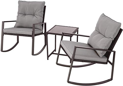 Oakmont Outdoor 3-Piece Patio Furniture Rocking Chair Bistro Set, Brown Wicker Conversation Set with Tempered Glass Coffee Table (Grey)