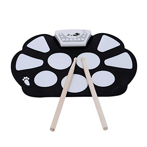 ammoon Enrolle Drum Pad Electrónico Portátil Kit Silicio Plegable con el Paltillo