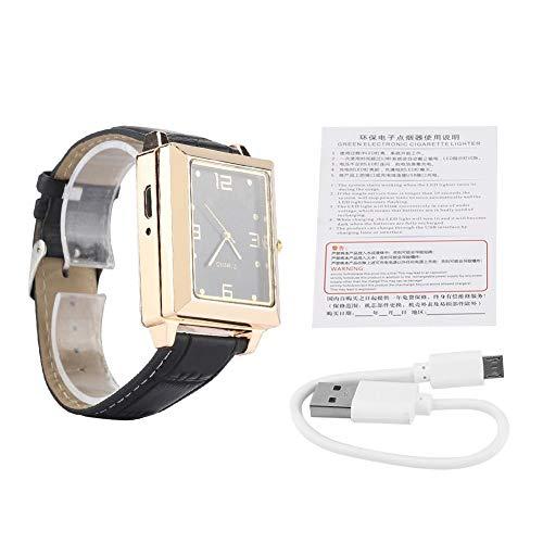EVTSCAN Uhr Zigarettenanzünder, Herren USB wiederaufladbare Winddichte flammenlose Zigarettenanzünder und quadratische Quarz-Armbanduhr(Schwarz)