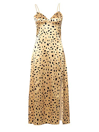 ChouZZ Vestido de verano para mujer, sin mangas, con estampado animal, correa de espagueti, con cuello en V, abertura en V