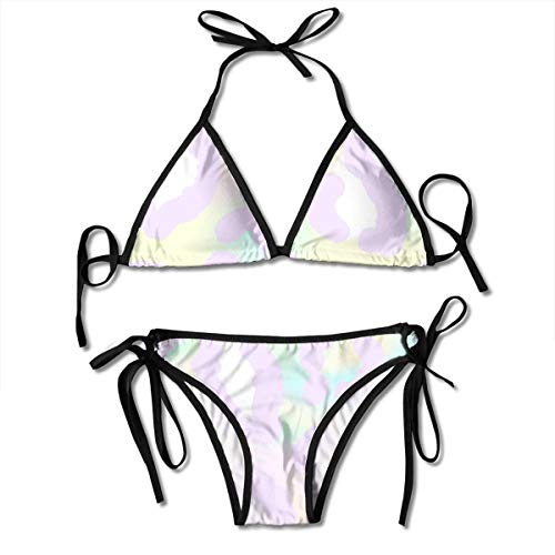 Bikini Seamless-Holographic-Pattern-Leopard-Skin-Trendy Bikini Set Two Piece,Triangle Padded Cut Out Swimsuit for Ladies Swimming Costume