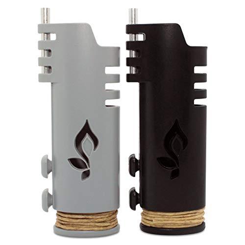 Hemplights Hemp Wick Lighter 2 Pack Wrapper, Includes 8FT Hemp Wick USA (Black/Grey)