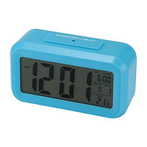 OurLeeme Reloj de Alarma Digital, batería Batería de Noche Pantalla LCD Sensor de luz Reloj de Alarma con función de Despertador Activado Luz Nocturna (Batería no incluida) (Azul)