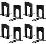 Fermalibri per ripiani pesanti, base antiscivolo, nero, ideale per biblioteca, ufficio, casa, scuola, 4 coppie