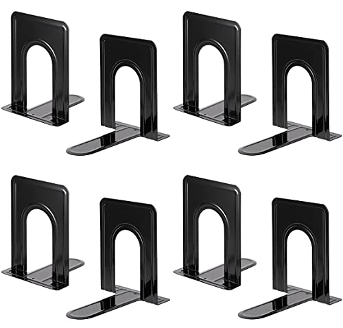 Heavy Duty Bookends for Shelves, Anti-slip Base, Black, Great for Library, Office, Home, School, 4 Pairs