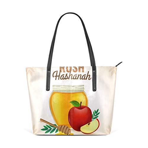 AMONKA Rosh Hashanah - Bolso de mano para mujer y niña, diseño de manzanas y miel
