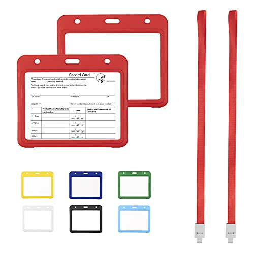 2 Pack Vaccine Card Holder with Lanyard, Sooez 4x3 CDC Vaccination Card Protector, Heavy Duty Plastic Immunization Record Vaccine Cards Holder, ID Card Protector, Badge Holder, Two-Sided Transparent