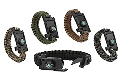 Paracord Bracelet Survial Kit 500 LB - Emergency Tactical Parachute Rope Bracelet with Compass, Flint Stone, Knife, Whistle,for Outdoor Hiking Travelling Camping Gear -(Set of 5)