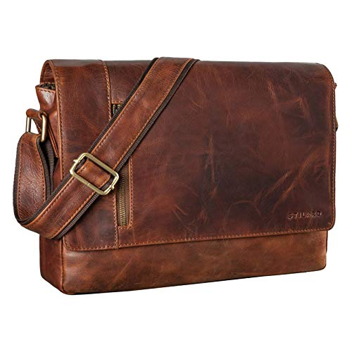 STILORD 'Davis' Satchel Messenger Bag Leather Laptop Bag 13 Inch Vintage Shoulder Bag College Bag for Office Work Leisure in Genuine Leather, Colour:Florida - Brown
