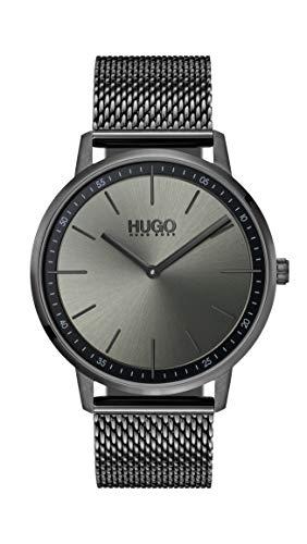 HUGO Unisex Erwachsene Analog Quarz Uhr mit Edelstahl Armband 1520012