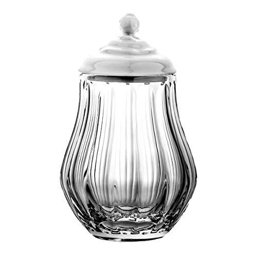Crystaljulia - Bonboniere in Cristallo al Piombo, con Coperchio in Porcellana, 20 cm, Trasparente