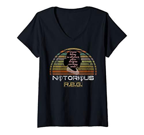 Damen RBG Ruth Bader Ginsburg feministisch politisch T-Shirt mit V-Ausschnitt