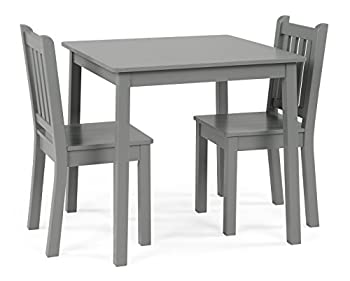 Humble Crew Grey Kids Wood Table and 2 Chairs Set Square