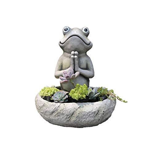 RANRAN Garden Exterior Frog Flower Pot Statue Ornaments, Creativity Animal Decoration Crafts, Magnesium Oxide Succulent Flowerbed And Garden Decoration, Retro Buddha Sculpture