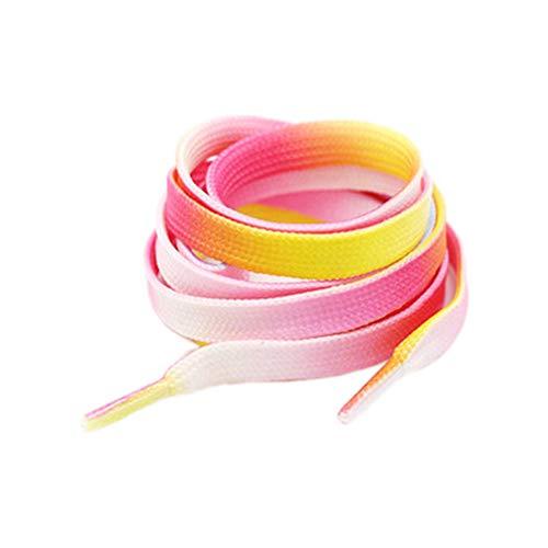 Demarkt Mode Regenbogen Farbverlauf Bunte Schnürsenkel – 1 Paar breite flache Schuhbänder für z.B. Sneaker Sportschuhe in Premiumqualität – hochwertige Flachsenkel Schuhsenkel