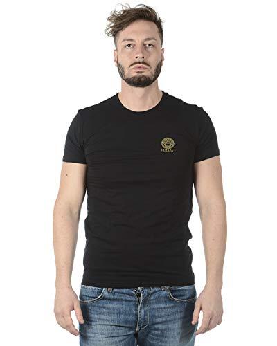Versace Iconic Stretch-Baumwoll-T-Shirt mit Rundhalsausschnitt Gr. XXL, schwarz
