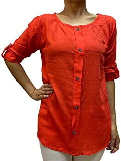 Veronica Long Sleeve Ladies Blouse Round neck red orange