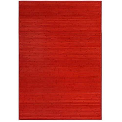 Alfombra Pasillera, Dormitorio o Salón de Madera Bambú Natural Rojo (140x200)