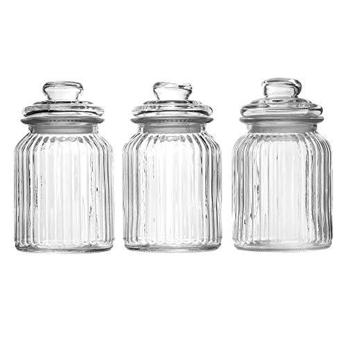 Maison & White Juego de 3 tarros de cristal herméticos vintage   Recipientes tradicional   Ideal para té, café, dulces y más (990ml)