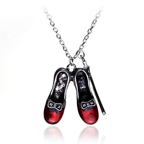 ZYLL Nuevo Collar con Colgante De Zapatos Rojos con Varita Mágica, Joyería Retro De Hip Hop, Collar con Colgante De Moda Unisex, Regalo