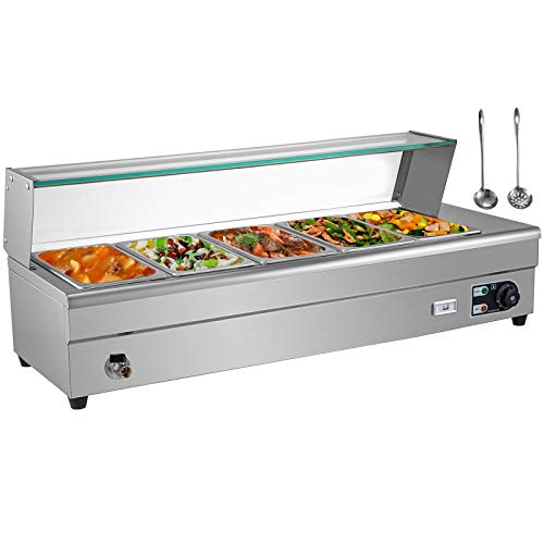 VEVOR 5-Pan Bain Marie Food Warmer 6-Inch Deep, 110V Food Grade Stainelss Steel Commercial Food Steam Table, 1500W Electric Countertop Food Warmer 55 Quart with Tempered Glass Shield