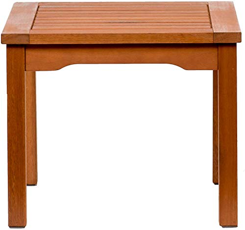 Amazonia Rome Square and Durable Side Table | Eucalyptus Wood | Ideal for Outdoors and Indoors, 20 x 20