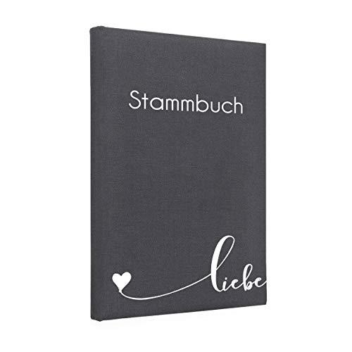 Hochzeitideal Stammbuch der Familie Liebe Leinen grau