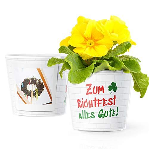 Facepot Richtfest Geschenk Blumentopf (ø16cm) | Deko Geschenke für neues Haus, Hauseinweihung oder Haussegen mit Bilderrahmen für 2 Fotos (10x15cm) | Zum Richtfest - Alles Gute!