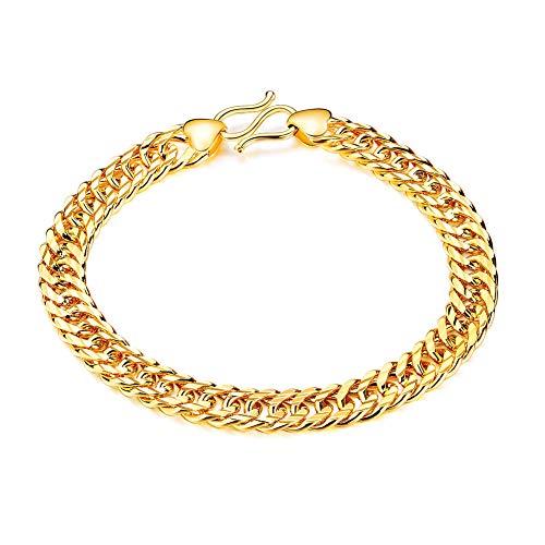 Gouden ketting vergulde verstelbare koperen armband voor mannen en vrouwen, beste geschenken voor vaders dag, domineering overdreven inspirerende hiphop sieraden, M