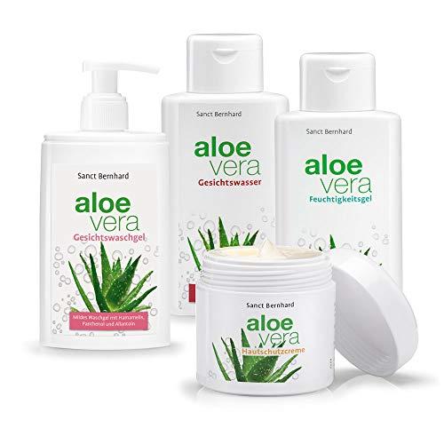 Sanct Bernhard Aloe-Vera-Pflegeset 4 Stück - Feuchtigkeitsgel, Hautcreme, Waschgel, Gesichtswasser
